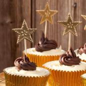 Set décoration gâteau Etoiles d'or - Lot de 8