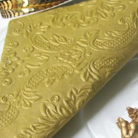 Serviettes baroques gaufrées dorées - 12 serviettes