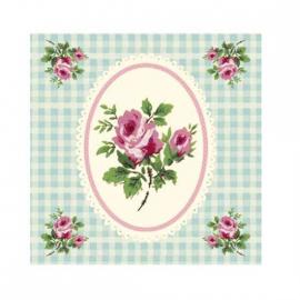 Carte vichy et roses anglaises - Sous blister avec enveloppe