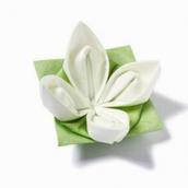 Serviettes intissé origami fleur blanche - Lot de 12