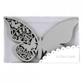 Marque place grand papillon dentelle argent - Lot de 10
