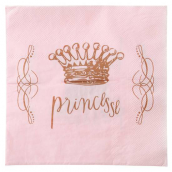 Serviette papier rose Pretty Princesse - Lot de 20