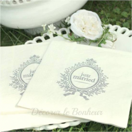 Serviettes Just Married - Lot de 20