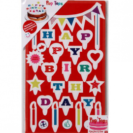 Set decoration gâteau happy birthday pop color