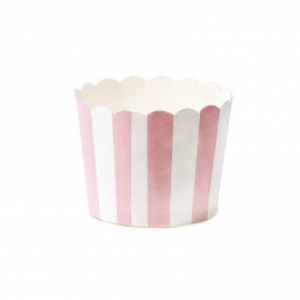 Caissettes cupcake rayures roses - Lot de 24