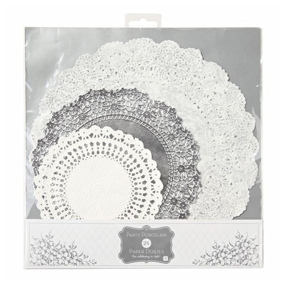 Assortiment napperons dentelle éclat silver - Lot de 24