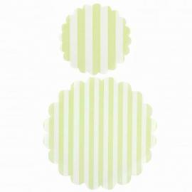 Napperons papier rayures vertes - Lot de 20