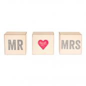 Cube bois rétro Mr & Mrs