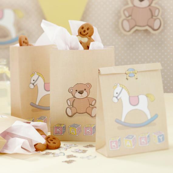 Sac papier baby nursery et stickers - Lot de 5