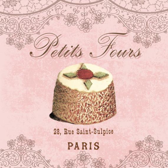 Serviettes cocktail petits fours parisiens - Lot de 20