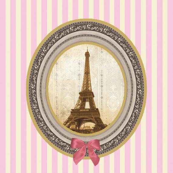 Serviettes Tour eiffel pink médaillon - Lot de 20