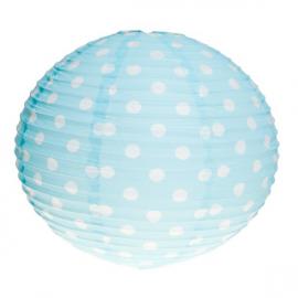 Lanterne papier bleu à pois