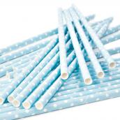 Paille papier bleu pois blanc - Lot de 25