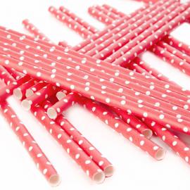 Pailles papier rouge pois blanc