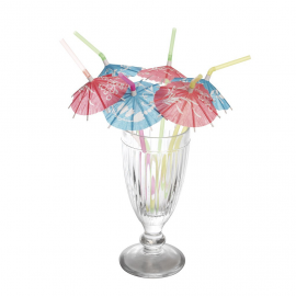 Pailles cocktail parasol - Lot de 6