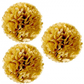 Grands Pompoms papier or