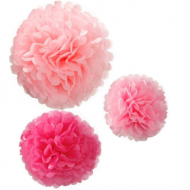 Pompoms assortis roses
