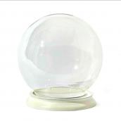 Grand globe verre rond socle bois blanc