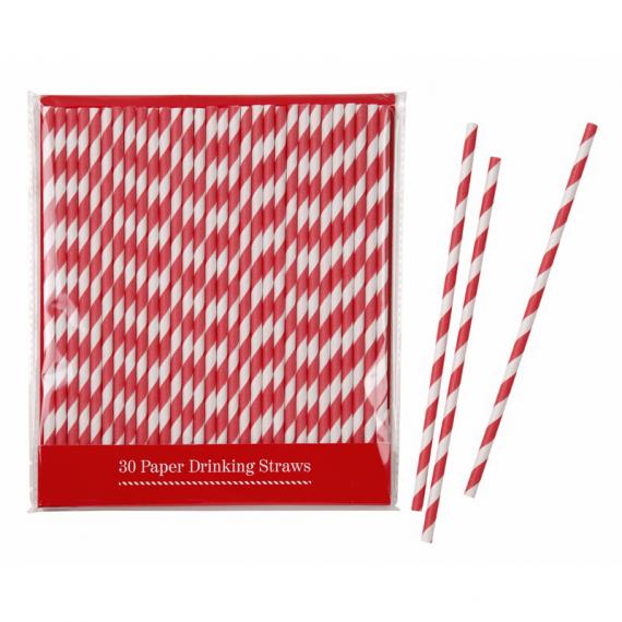 Pailles papier vintage rayures rouges - Lot de 30