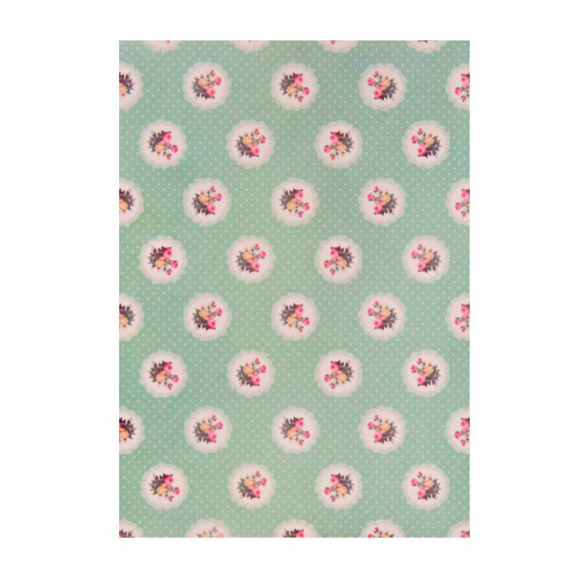 Feuille sticker tissu liberty floral green - format A5