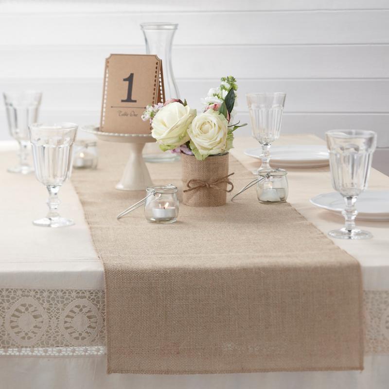 Decoration de table chemin de table jute vintage - Deco de table vintage ...