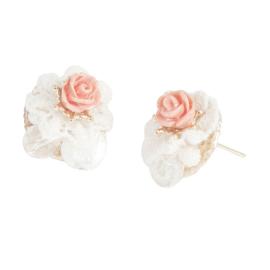 Boucles d'oreilles rose corail, dentelles et perles facettes