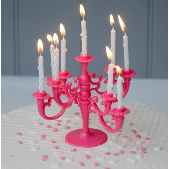 Bougie anniversaire Chandelier rose