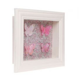 Cadre vitrine liberty papillons roses