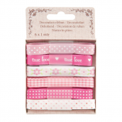 Coffret ruban satin patch pink - Lot de 6