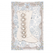 Boutons perles cerclage argenté - Lot de 6