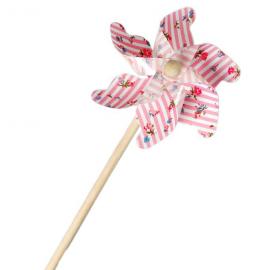 Moulin à vent rayures roses et fleurettes