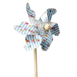 Moulin à vent rayures bleues et fleurettes