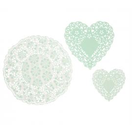 Assortiment napperons dentelle vert mint - Lot de 30