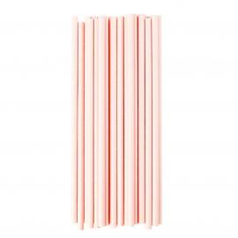 Pailles rétro papier uni rose - Lot de 25