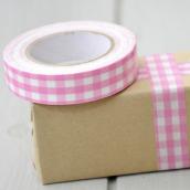 Ruban masking tape tissu vichy rose - 5 mètres