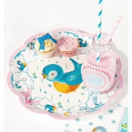 Assiettes baby shower birdy pastel