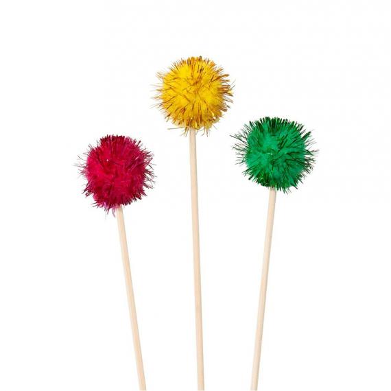 Piques pompoms party glam color