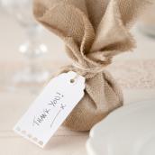 Etiquettes marque-place dentelle rétro white - Lot de 10