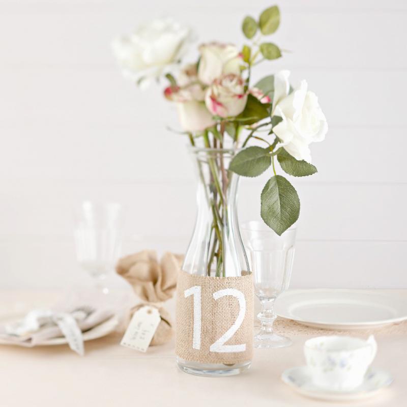 D coration de table fourreaux num ros de table jute vintage - Deco de table vintage ...
