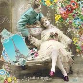 Serviettes papier Romance rétro - Lot de 20
