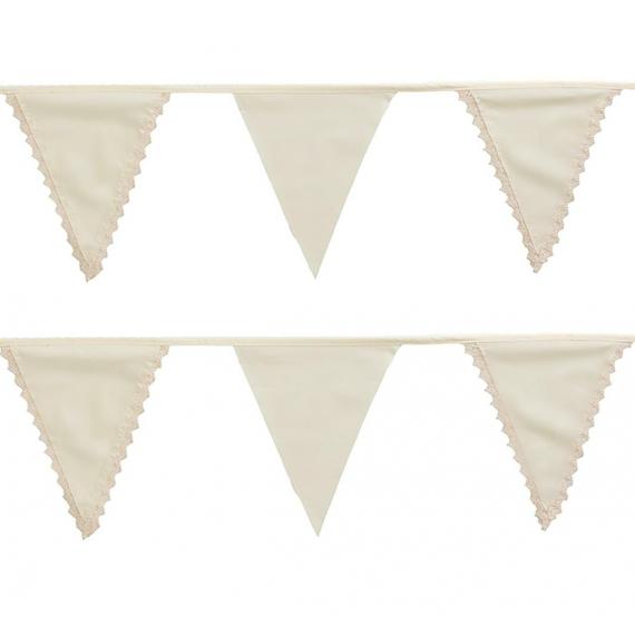 Guirlande fanions ivoire coton et dentelle