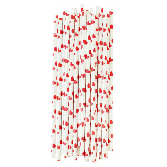 Pailles papier coeurs rouges - Lot de 25