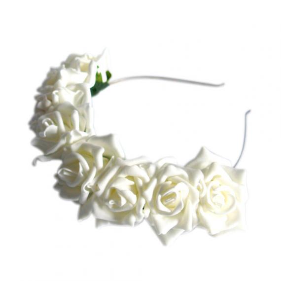 Couronne bandeau roses ivoire et feuilles