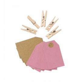 Set mini étiquettes courrier et pinces bois - Lot de 10