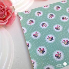 Feuille sticker tissu liberty floral green - format A5