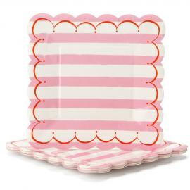 Grandes assiettes carrées feston rayures roses