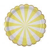 Assiettes rayures lemon feston or