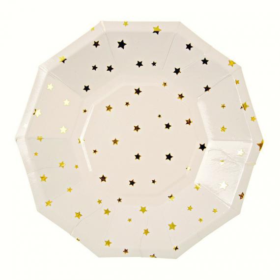 Assiettes octogonales étoiles dorées