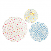 Napperons papier flower power vintage - Lot de 24