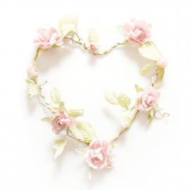 Coeur shabby chic de roses tendres